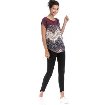 Color Block Floral Print Casual Tee - BLOOD RED M