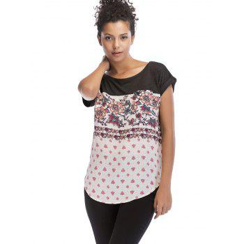 Flowers Print Round Neck Basic T-shirt - GRAY WOLF M