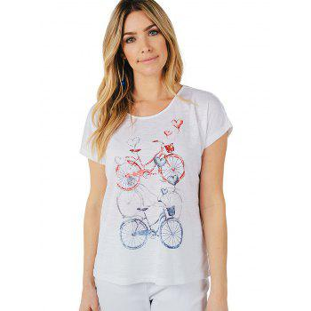 Vintage Bicycle Print T-shirt - WHITE S