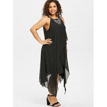 Plus Size Beading Sleeveless Flowy Dress - BLACK L