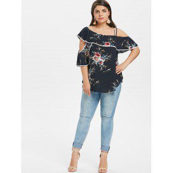 Plus Size Cutout Floral Ruffle Blouse - MIDNIGHT BLUE 3X