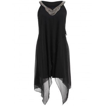 Plus Size Beading Sleeveless Flowy Dress - BLACK 2X