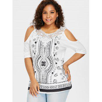 Plus Size Cold Shoulder Applique Printed Top - WHITE 1X