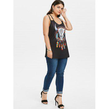 Plus Size Ethnic Graphic Cami Tank Top - BLACK 4X