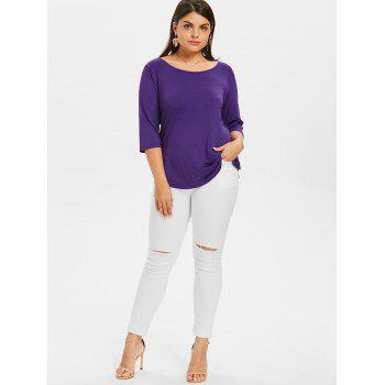 Plus Size Bowknot Cut High Low T-shirt - PURPLE AMETHYST 3X