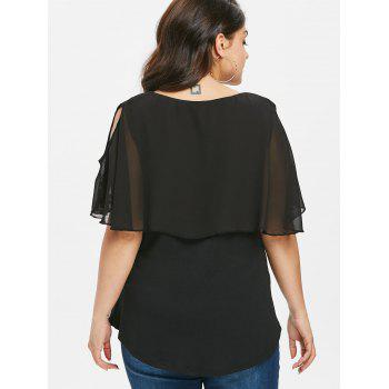 Plus Size Cold Shoulder Flower T-shirt - BLACK 3X