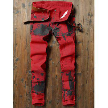 Stretchy Splash-ink Print Narrow Feet Jeans - LAVA RED 38