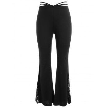 Plus Size Side Slit Lace Flare Leggings - BLACK L
