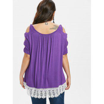 Plus Size Cold Shoulder Lace Trim T-shirt - PURPLE 4X