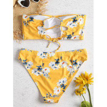 Daisy Print Lace-up Plus Size Bikini Set - MUSTARD L