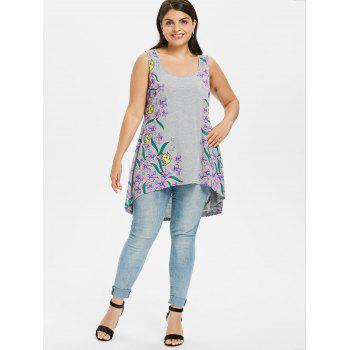 Plus Size Tiny Floral Dip Hem Tank Top - LIGHT GRAY 1X
