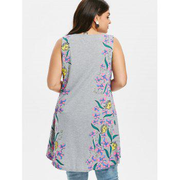 Plus Size Tiny Floral Dip Hem Tank Top - LIGHT GRAY 2X
