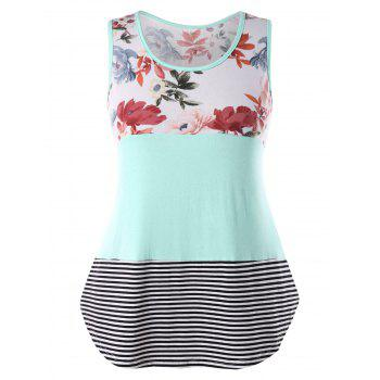 Color Block Floral Print Plus Size Tank Top - MINT GREEN 3X