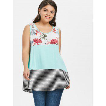 Color Block Floral Print Plus Size Tank Top - MINT GREEN 2X