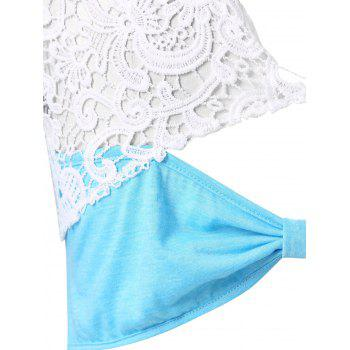Back Bowknot Embellished Plus Size Lace Sleeve T-shirt - SKY BLUE L