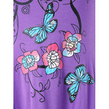 Plus Size Butterfly and Floral Handkerchief T-shirt - PURPLE 4X
