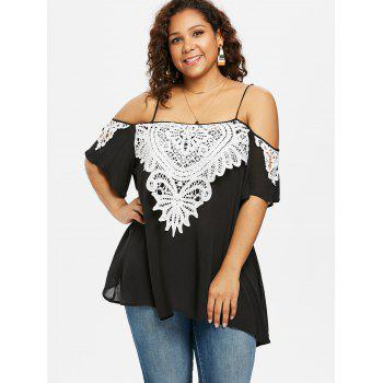 Plus Size Lace Trim Half Sleeve Blouse - BLACK L