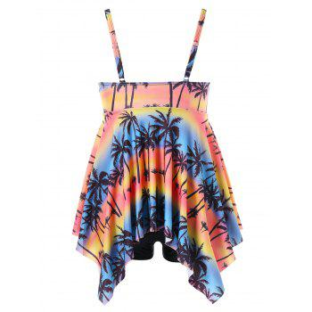 Plus Size Hawaiian Palm Handkerchief Tankini Set - multicolor 2X
