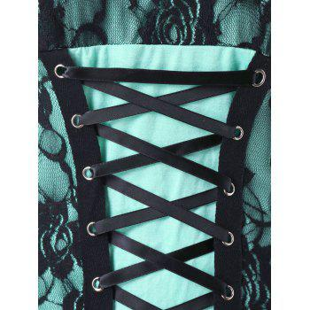 Plus Size Ruffle Trim Lace Up Tank Top - MINT GREEN 2X