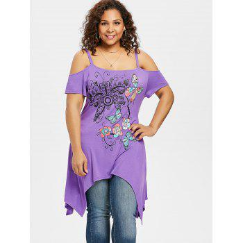 Plus Size Butterfly and Floral Handkerchief T-shirt - PURPLE 5X