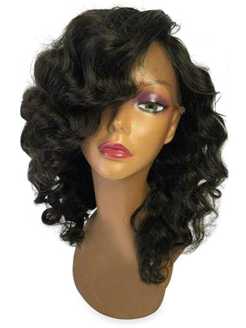 Medium Oblique Fringe Body Wave Lace Front Synthetic Wig - BLACK