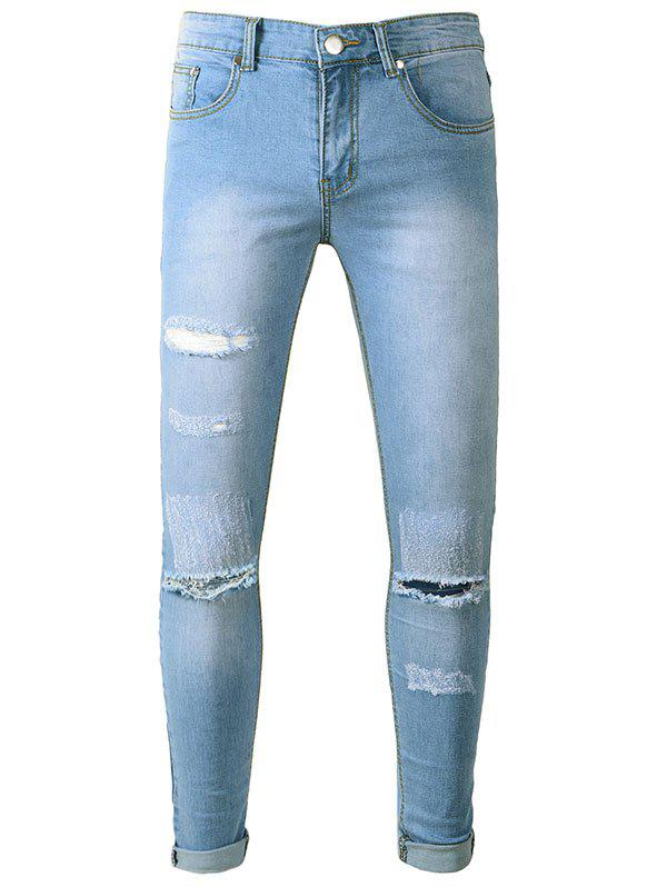 Zipper Fly Ripped Scratches Hole Skinny Jeans 2016 hole jeans free shipping woman distressed true denim skinny jean pencil pants trousers ripped jeans for women 031