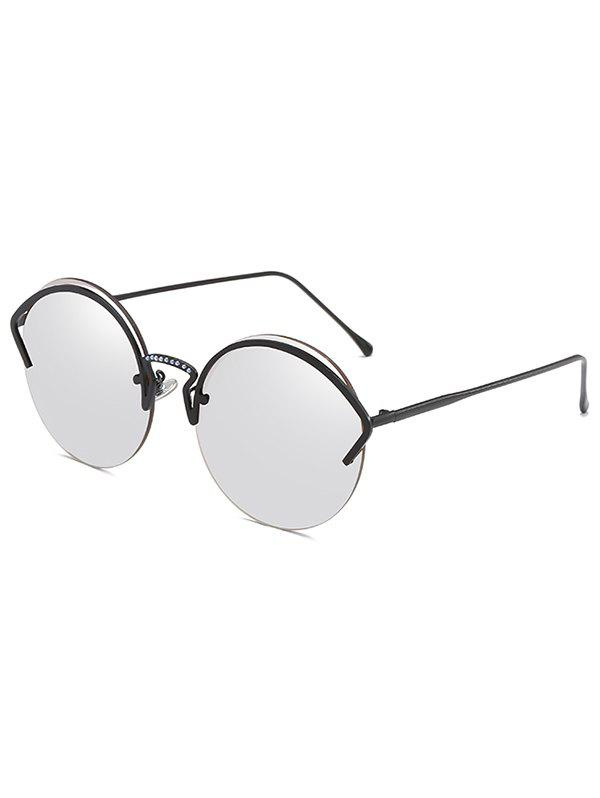 Anti UV Metal Half Frame Round Sunglasses - PLATINUM