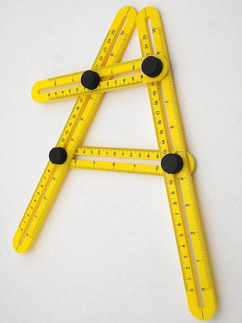 ABS Multifunction Foldable Plastic Teach Ruler - BEE YELLOW