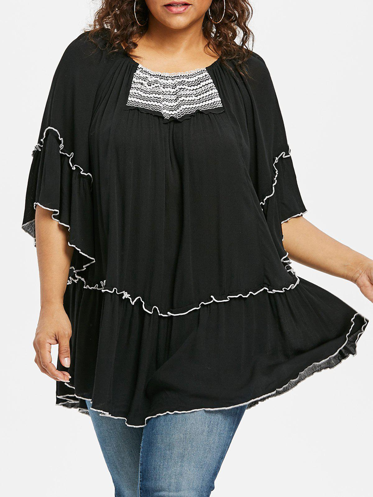 Plus Size Contrast Trim Lettuce Blouse