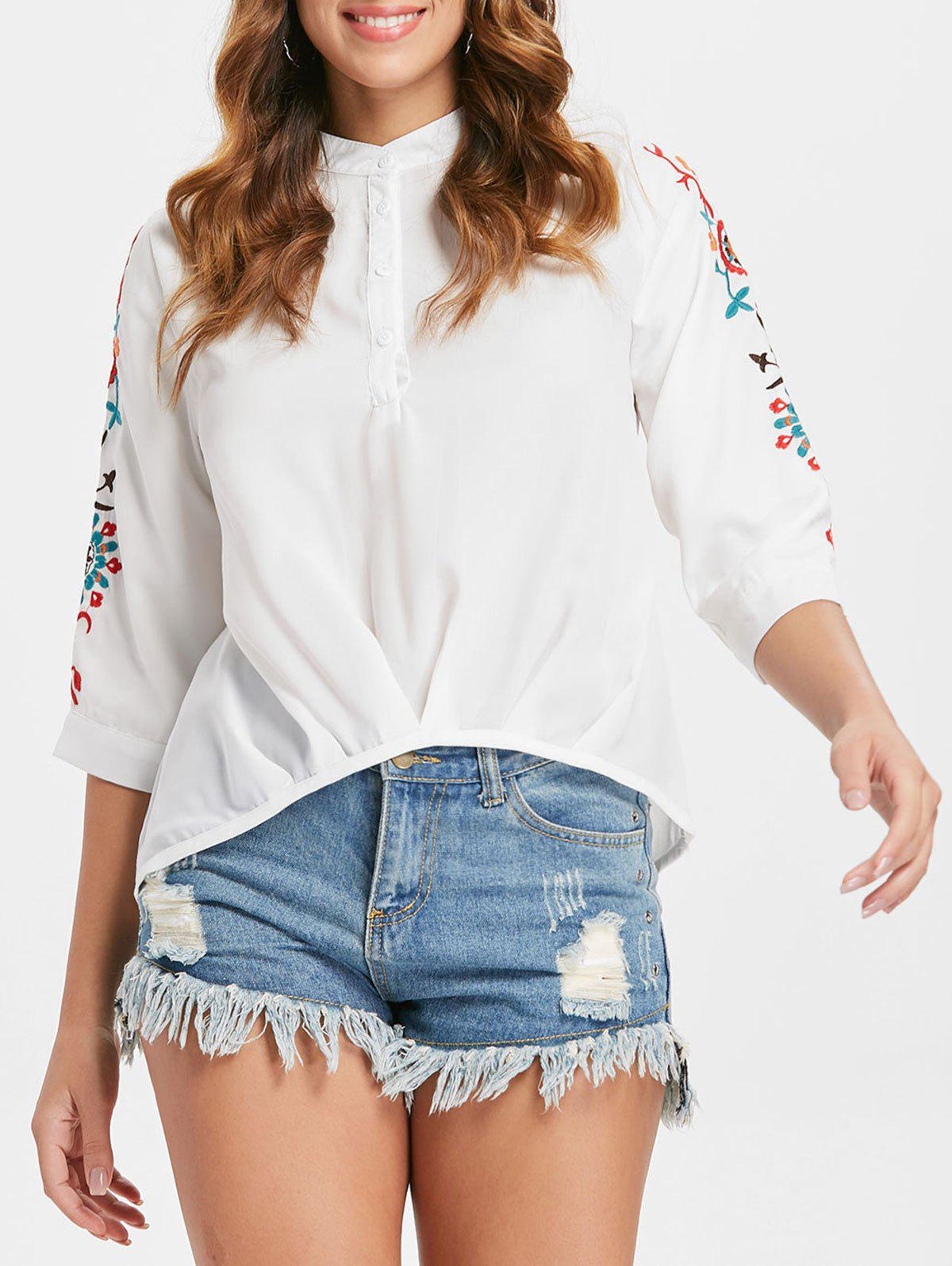 High Low Embroidered Blouse - WHITE M