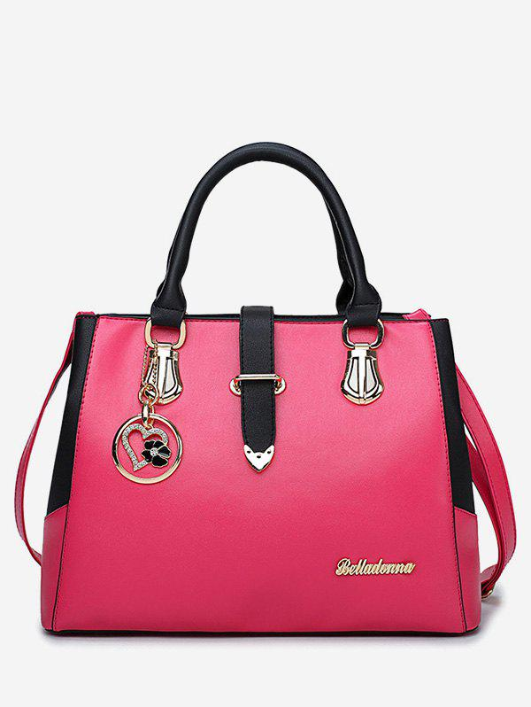 Chic Metal PU Leather Color Block Handbag - NEON PINK