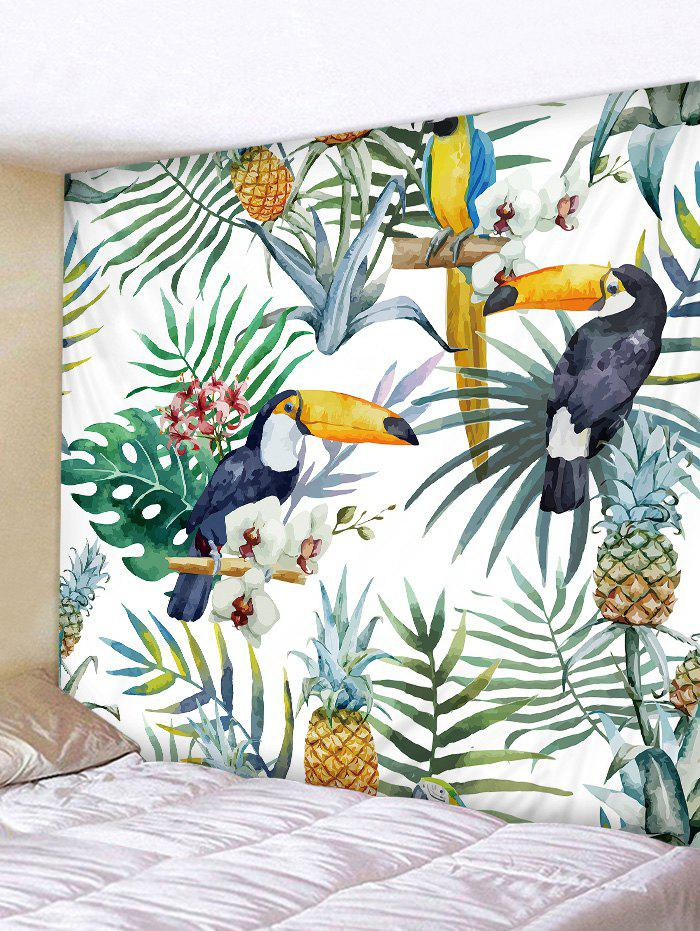 Leaf Pineapple Bird Pattern Tapestry Wall Decoration pineapple overlay tapestry