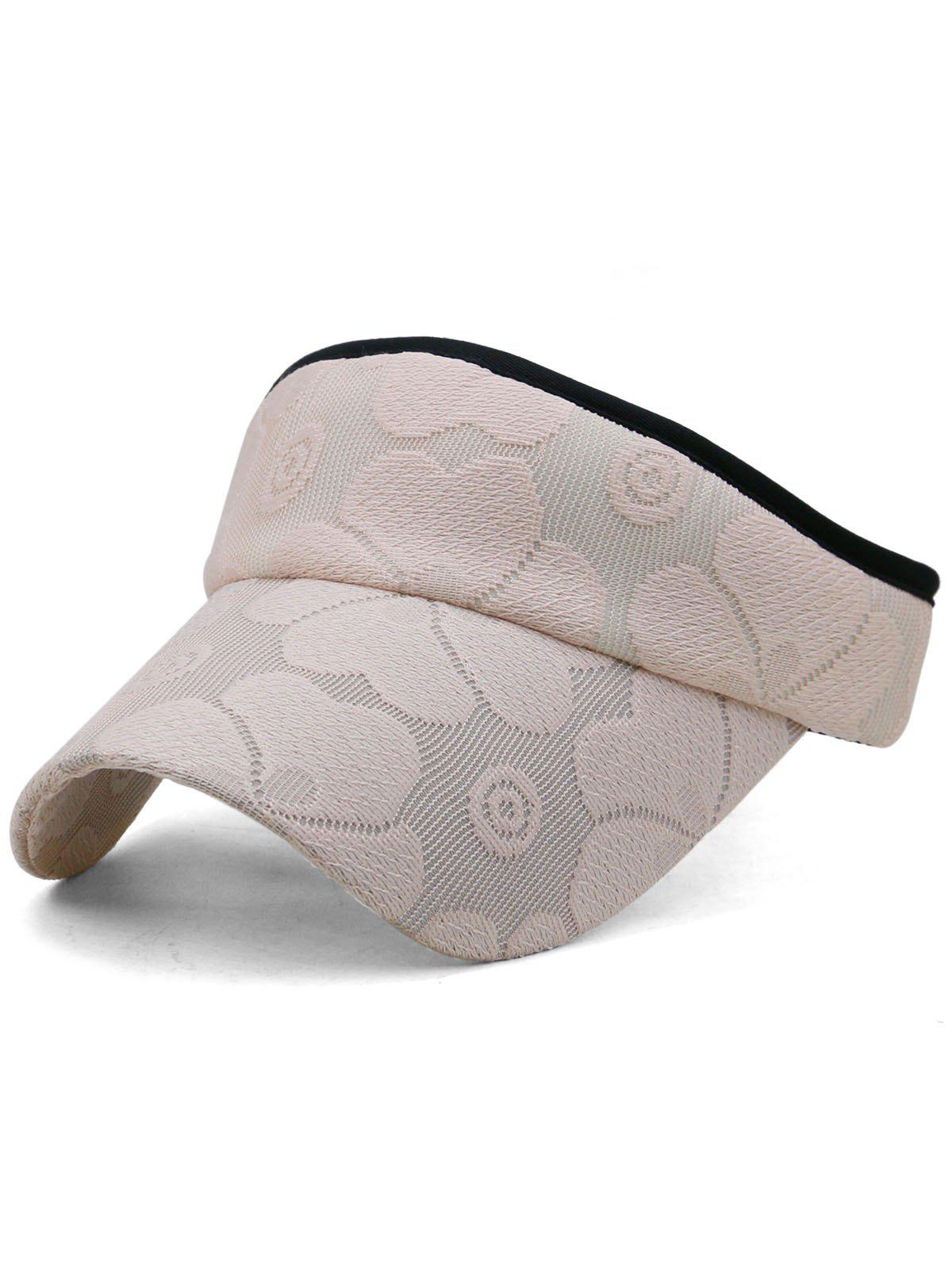Lightweight Floral Embroidered Open Top Sunscreen Hat - LIGHT PINK