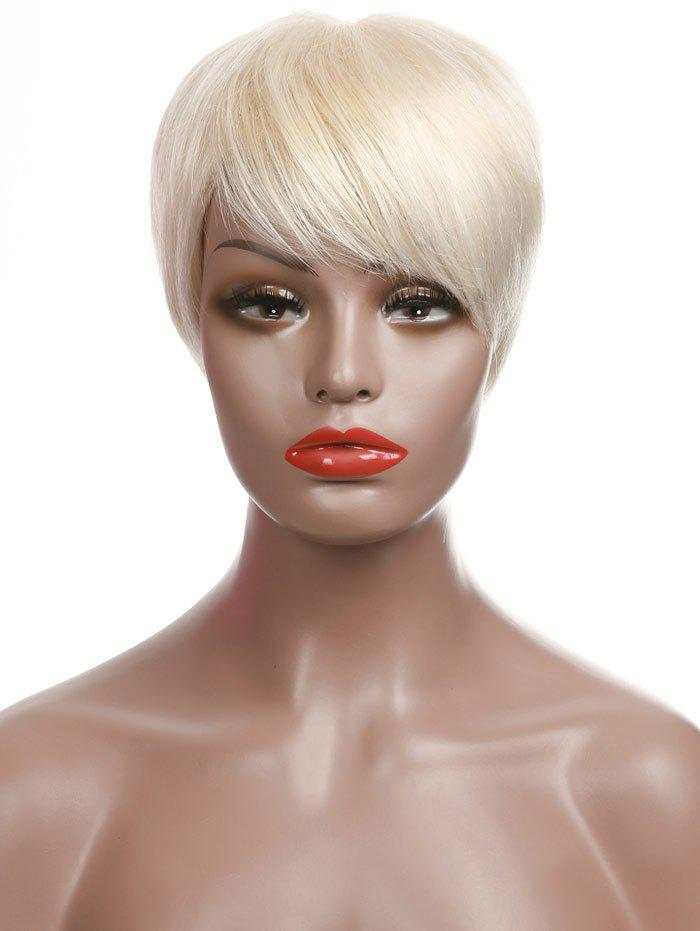 Short Side Bang Party Straight Human Hair Wig - PARCHMENT