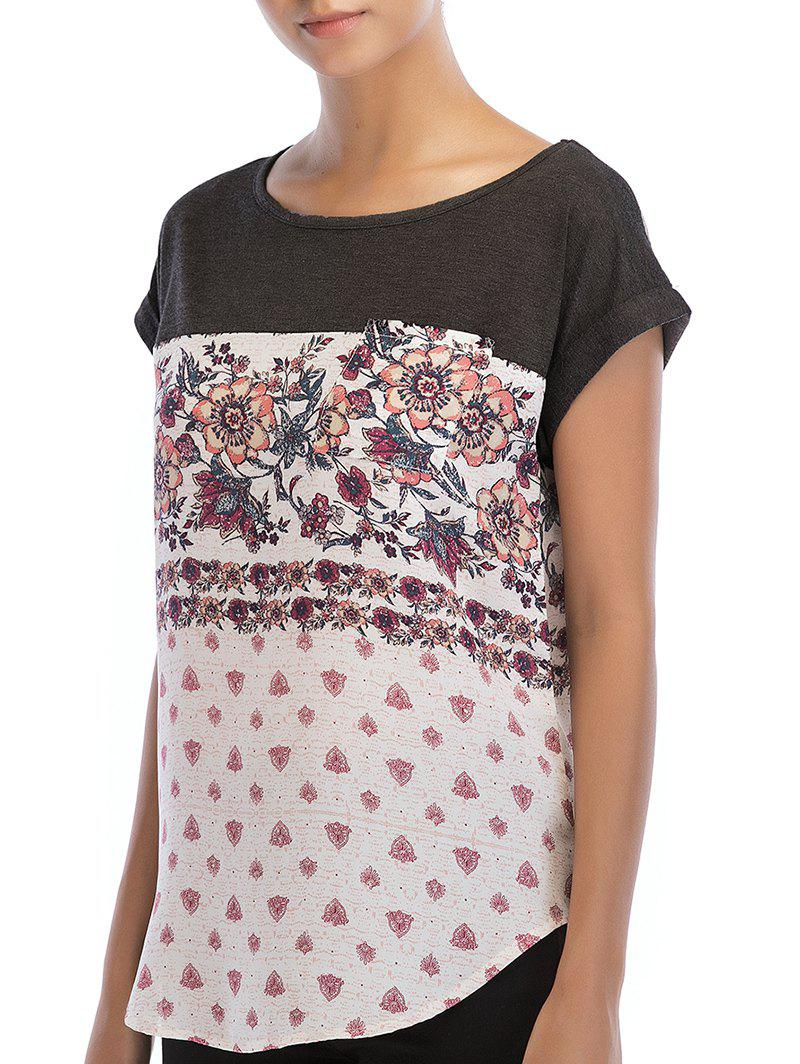 Flowers Print Round Neck Basic T-shirt - GRAY WOLF L