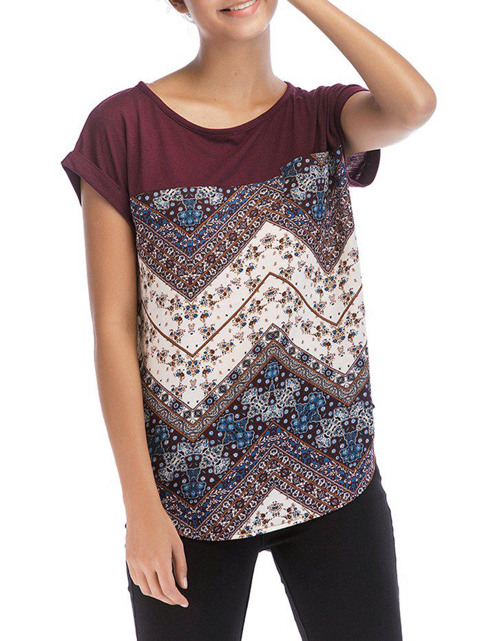 Color Block Floral Print Casual Tee - BLOOD RED XL