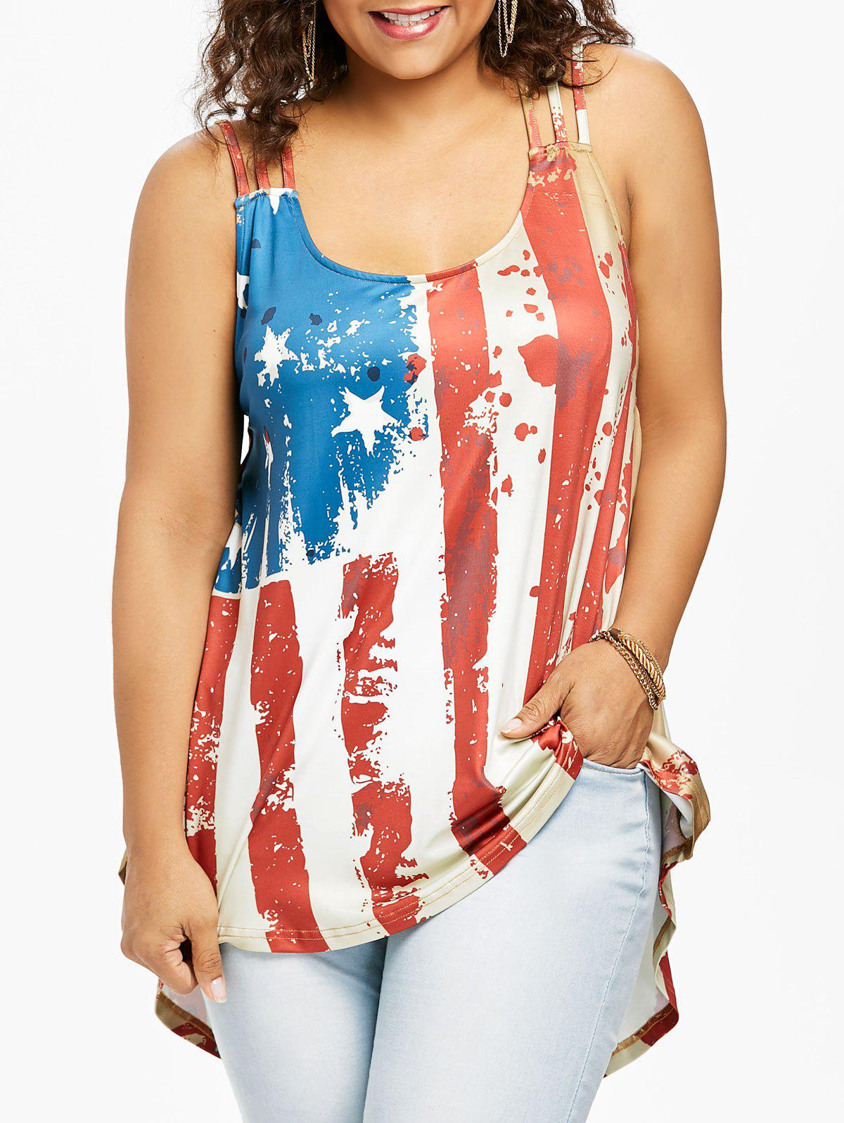 American Flag Strappy Plus Size Tank Top american flag print strappy tank top