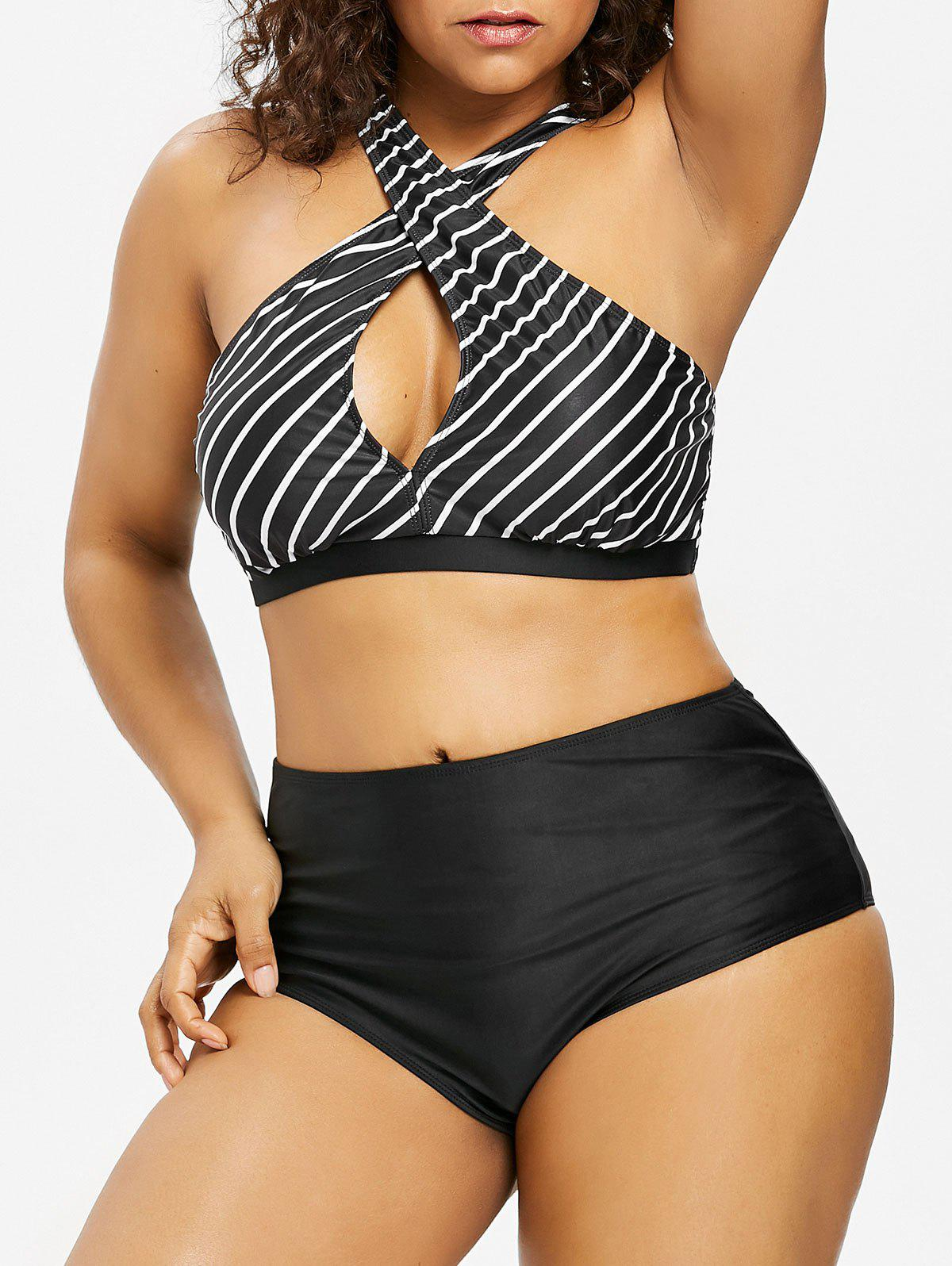 Plus Size Stripes Keyhole Bikini Set - BLACK 3X