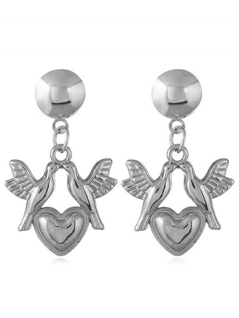 Love Heart Pigeons Shaped Dangle Earrings - SILVER