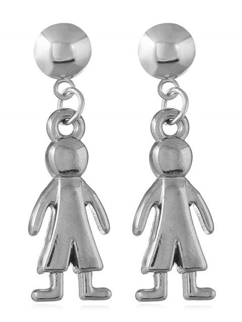 Figure of a Walking Human Shaped Dangle Earrings - SILVER
