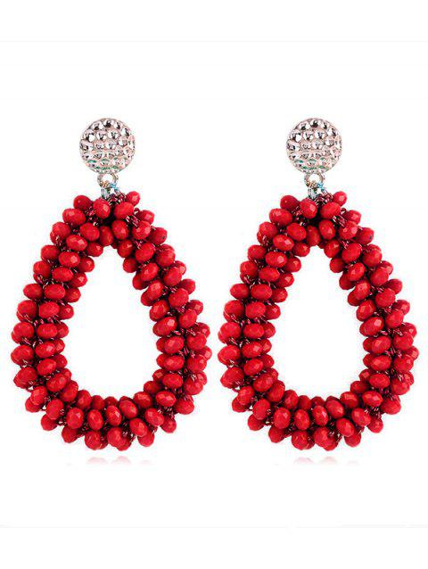 Water Drop Shaped Beads Rhinestone Earrings - RED