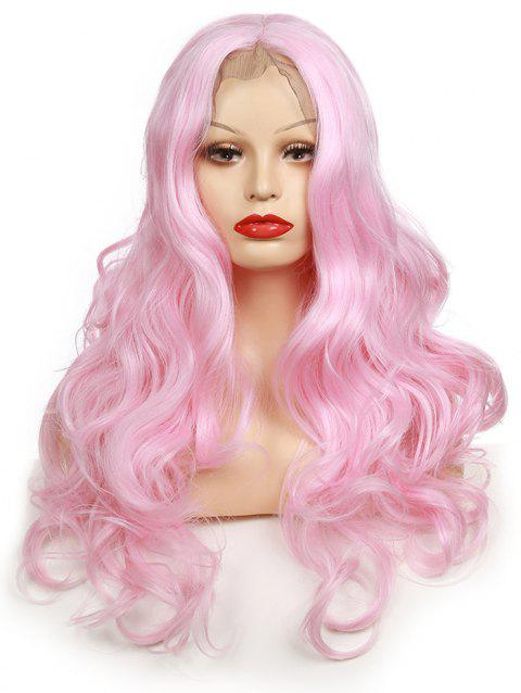 Long Center Parting Body Wave Party Synthetic Lace Front Wig - PINK