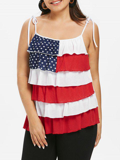 Plus Size Layered American Flag Tank Top - FIRE ENGINE RED 5X