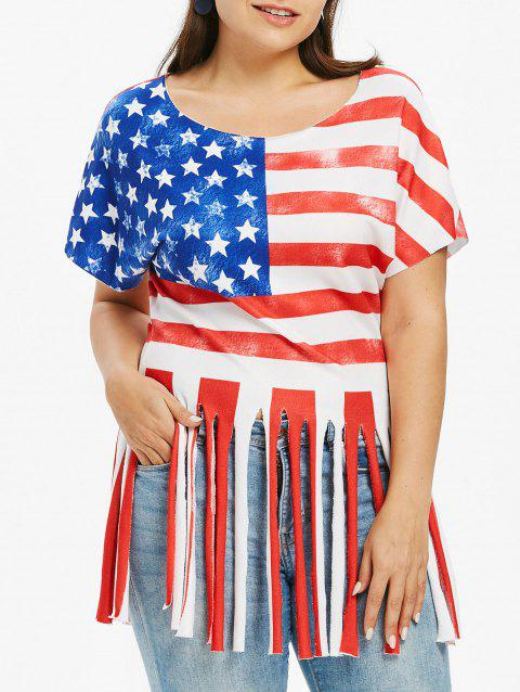 Plus Size Swing American Flag T-shirt - FIRE ENGINE RED 5X