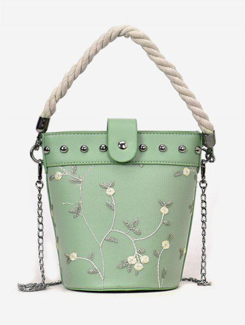 Studs Rope Flower Decorated Handbag with Chain - GREEN