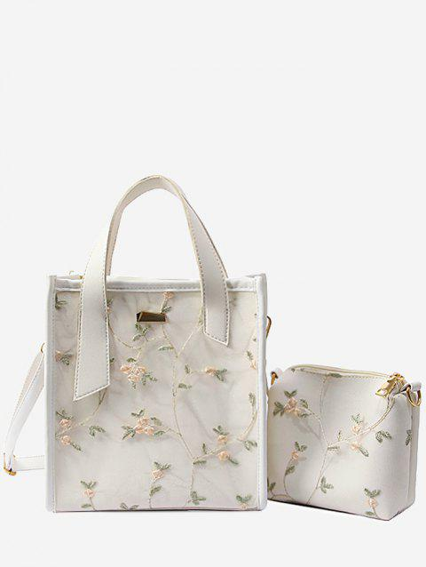 Floral Lace Decorated 2 Pieces Tote Bag Set - WHITE