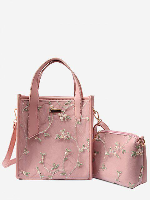 Floral Lace Decorated 2 Pieces Tote Bag Set - LIGHT PINK
