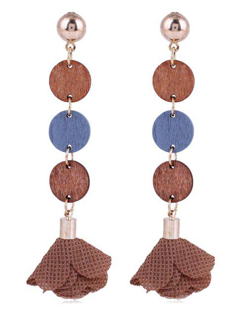 Pair of Floral Cloth Wooden Round Drop Earrings - COFFEE
