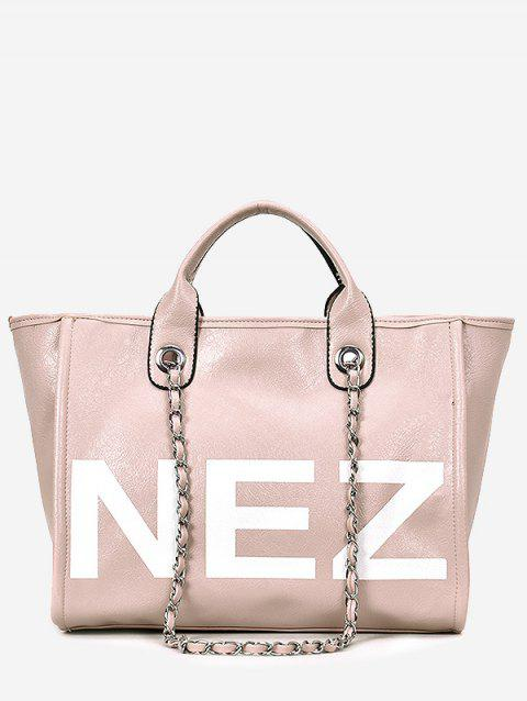 Large Capacity Letter Print Tote Bag for Shopping - LIGHT PINK