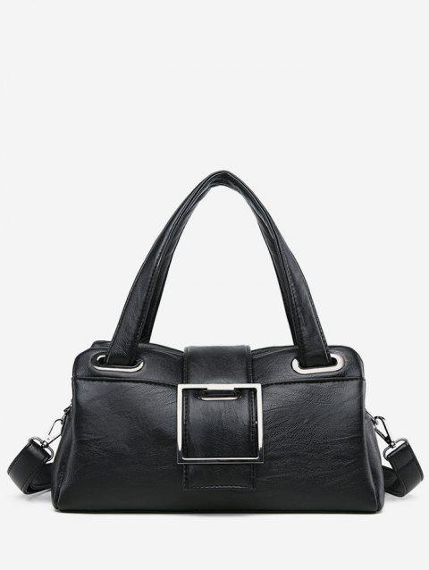 Chic Faux Leather Minimalist Tote Bag with Strap - BLACK